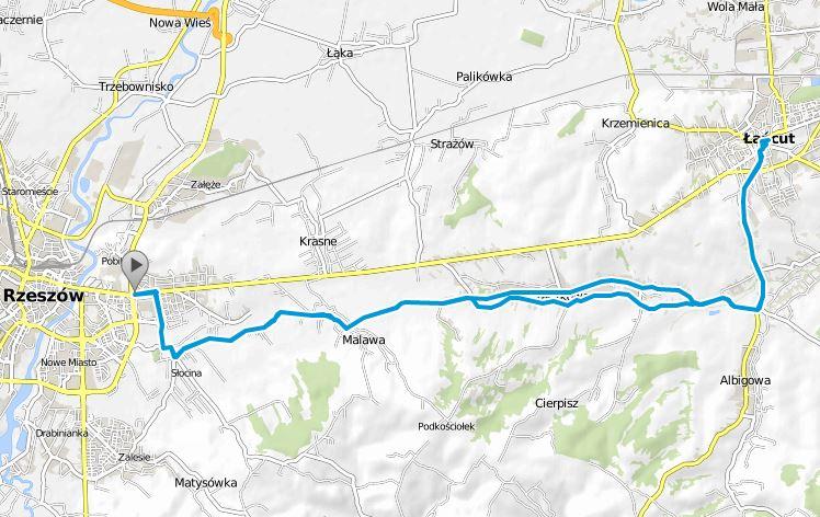 Trasa rowerowa Rzeszów - Malawa - Kraczkowa - Łańcut - Kraczkowa - Malawa - Rzeszów
