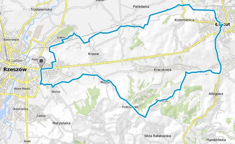 Trasa rowerowa Rzeszów Załęże - Krasne - Strażów - Krzemienica - Łańcut - Wysoka - Albigowa - Kraczkowa - Cierpisz - Malawa - Rzeszów