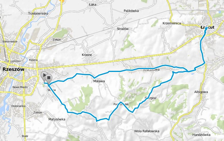 Trasa rowerowa Rzeszów Słocina - Magdalenka - Cierpisz - Kraczkowa - Łańcut - Kraczkowa - Malawa - Rzeszów