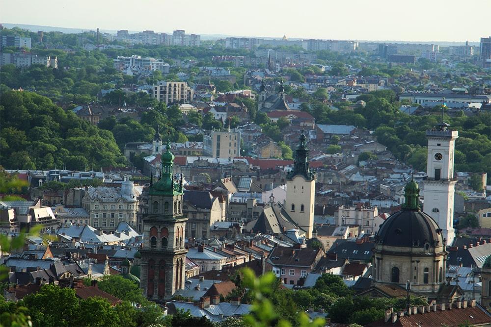 Lwów - panorama miasta, widok z wieży Ratusza