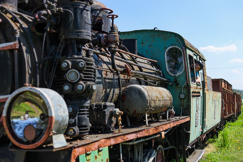 Parowóz Px48-1734 na stacji w Dynowie.